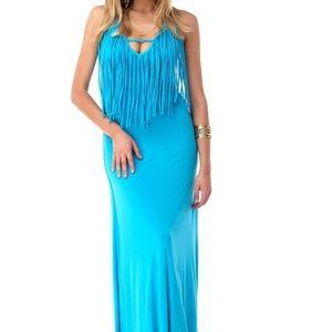 Sky NWT Bright Turquoise Blue Maxi Dress Fringe